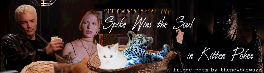 Spike is playing kitten poker against the cave demon from Grave while Buffy watches, shaken